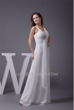 Sheath/Column Sleeveless Straps Chiffon Floor-Length Wedding Dresses 2030032