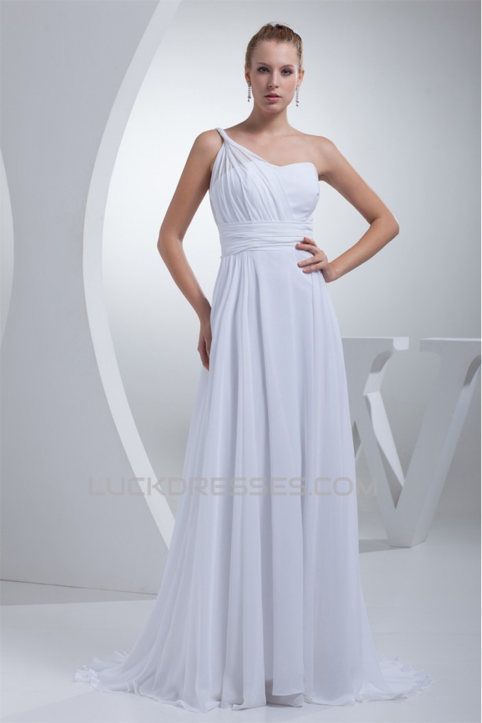A-Line One-Shoulder Chiffon Floor-Length Wedding Dresses 2030034