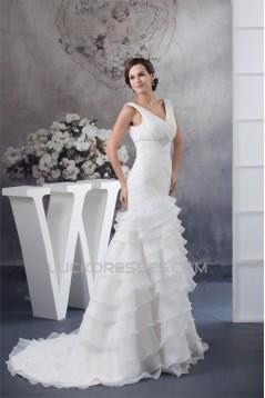 A-Line Sleeveless V-Neck Satin Organza Most Beautiful Beaded Wedding Dresses 2030037