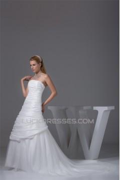 A-Line Strapless Chapel Train Beaded Taffeta Tulle Wedding Dresses 2030039