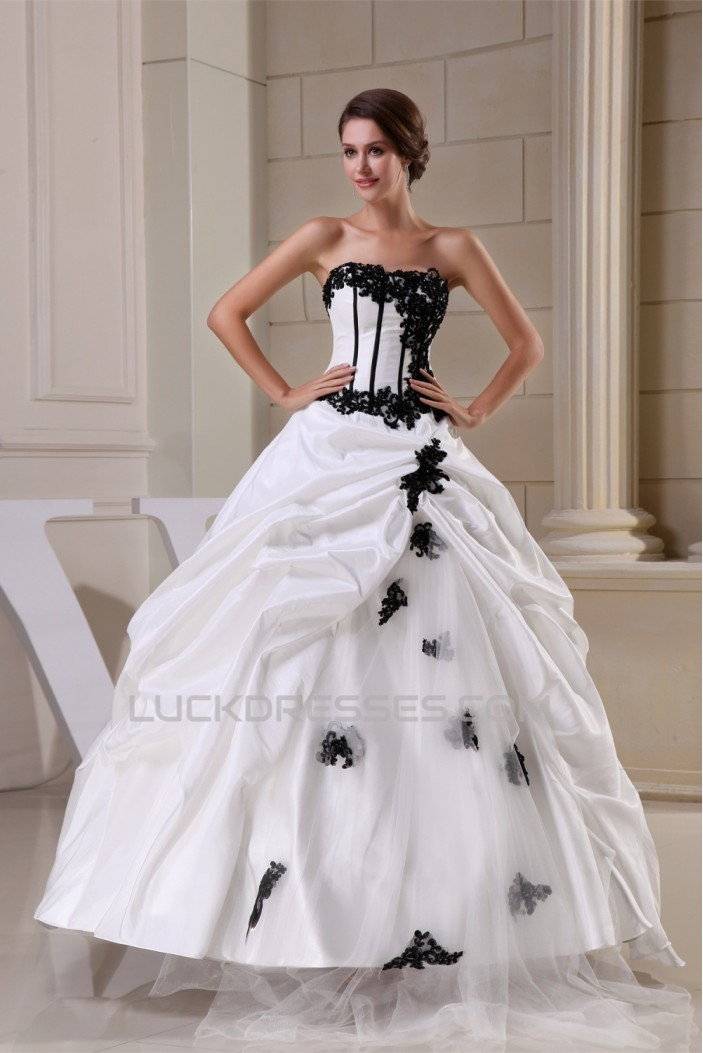 Ball Gown Strapless Beaded Appliques Lace Taffeta Beautiful Wedding Dresses 2030041