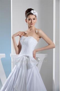 A-Line Strapless Chapel Train Beaded Taffeta Netting Wedding Dresses 2030044