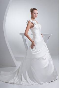 A-Line One-Shoulder Chapel Train Handmade Flowers Wedding Dresses 2030045