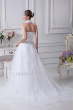 A-Line Halter Court Train Beaded Wedding Dresses 2030046