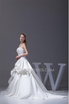 Amazing A-Line Strapless Chapel Train Beaded Appliques Wedding Dresses 2030047