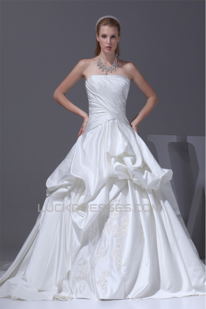 Amazing A-Line Strapless Chapel Train Beaded Appliques Wedding Dresses 2030047