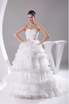 Amazing Ball Gown Sweetheart Satin Organza Ruched Wedding Dresses 2030048