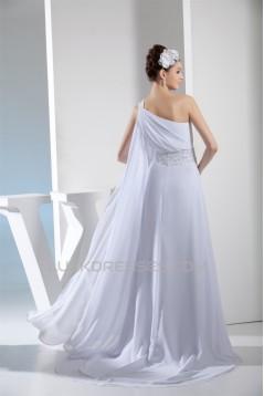 A-Line One-Shoulder Amazing Chiffon Sweep Train Wedding Dresses 2030049