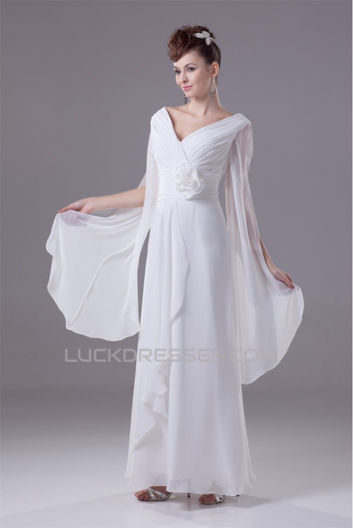 Amazing A-Line Ankle Length V-Neck Chiffon Wedding Dresses 2030050