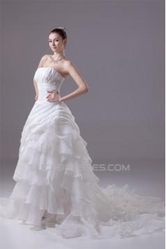 Amazing Organza Taffeta Strapless Beaded Appliques Chapel Train A-Line Wedding Dresses 2030052