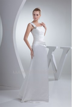 Satin Illusion Sleeves Square Floor-Length Wedding Dresses 2030053