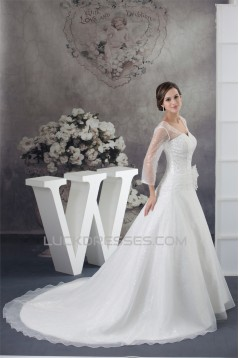 Amazing V-Neck A-Line Long Sleeve Satin Organza Sequins Wedding Dresses 2030060
