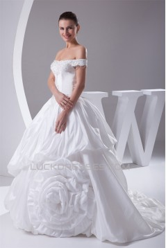 Ball Gown Sleeveless Taffeta Off-the-Shoulder New Arrival Wedding Dresses 2030064