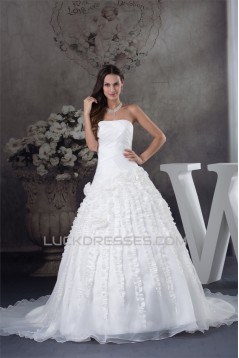Ball Gown Strapless Sleeveless Satin Organza Taffeta Sweet Wedding Dresses 2030065