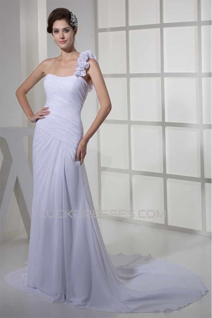 Beautiful Sheath/Column Chiffon One-Shoulder Sleeveless Wedding Dresses 2030067
