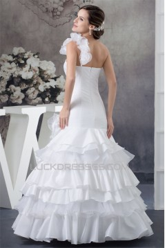 Beautiful Satin Organza Taffeta A-Line One-Shoulder Sleeveless Wedding Dresses 2030069