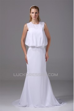 Beautiful Scoop Sleeveless Chiffon Mermaid/Trumpet Beaded Wedding Dresses 2030071