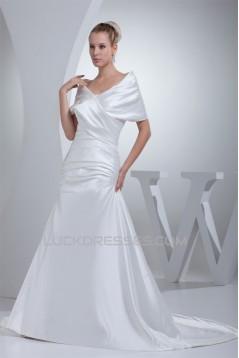 A-Line Portrait Beautiful Short Sleeve Satin Wedding Dresses 2030072