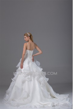 Beautiful Ball Gown Sweetheart Spaghetti Strap Beaded Appliques Wedding Dresses 2030073