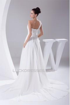 Beautiful A-Line Sleeveless Chiffon One-Shoulder Beaded Wedding Dresses 2030074