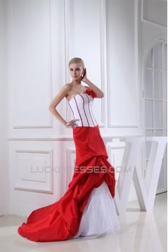 Trumpet/Mermaid Organza Taffeta Strapless Court Train Wedding Dresses 2030075