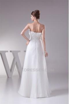 A-Line Strapless Beaded Floor-Length Pleated Wedding Dresses 2030076
