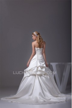 Beautiful Sleeveless Satin Strapless Ball Gown Beaded Lace Wedding Dresses 2030077