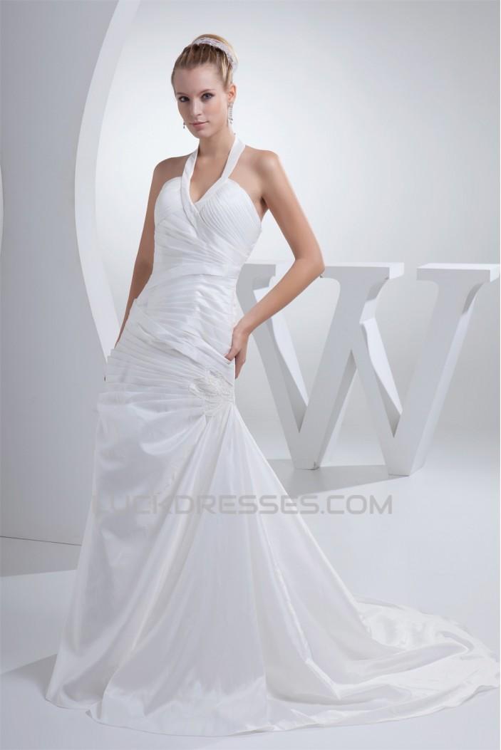 A-Line Halter Court Train Wedding Dresses 2030078