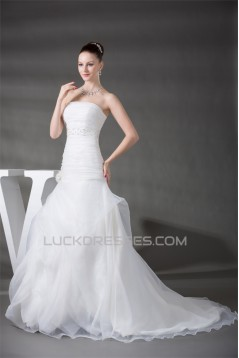 Beautiful Strapless A-Line Beaded Sleeveless Wedding Dresses 2030080