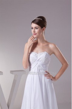 A-Line Sweetheart Beaded Appliques Chiffon Lace Wedding Dresses 2030081