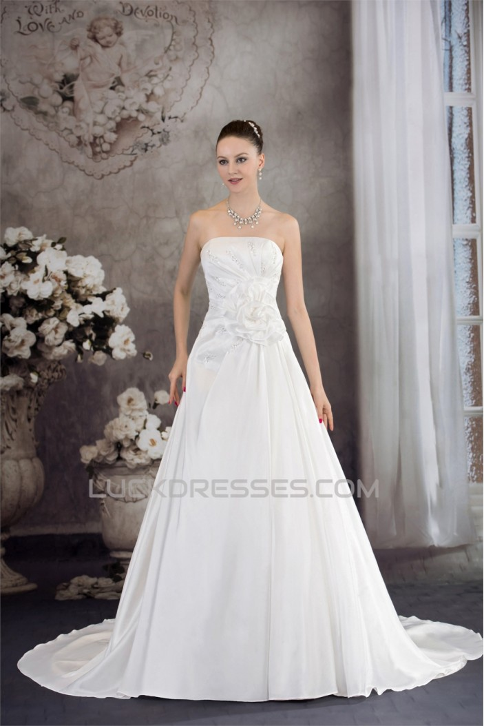 A-Line Strapless Sleeveless Beaded Taffeta Wedding Dresses 2030082