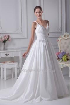 A-Line Spaghetti Straps Taffeta Sleeveless Wedding Dresses 2030083