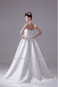 Breathtaking A-Line Sweetheart Sleeveless Satin Reception Wedding Dresses 2030085