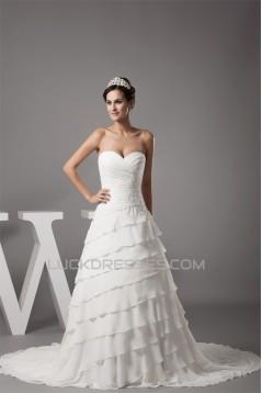 Breathtaking Sweetheart A-Line Chiffon Satin Sweet Wedding Dresses 2030086