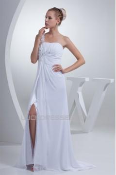 Brush Sweep Train Beading Chiffon Silk like Satin One-Shoulder Wedding Dresses 2030087