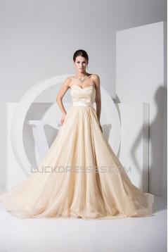 A-Line Brush Sweep Train Sweetheart Satin Organza Wedding Dresses 2030089