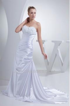 A-Line Silk like Satin Sweetheart Wedding Dresses 2030090
