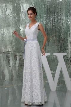Sheath/Column V-Neck Lace Sleeveless Wedding Dresses 2030091