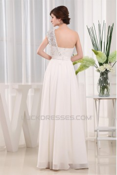 A-Line One-Shoulder Beaded Chiffon Lace Wedding Dresses 2030093
