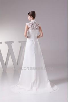 Chiffon Satin Lace High-Neck Sheath/Column Best Wedding Dresses 2030094