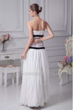 Chiffon Satin Lace Strapless Sheath/Column Wedding Dresses 2030095