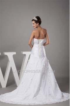 A-Line Sweetheart Chiffon Satin Lace Beaded Most Beautiful Wedding Dresses 2030096