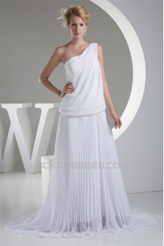 Chiffon Satin One-Shoulder Sheath/Column New Arrival Wedding Dresses 2030097