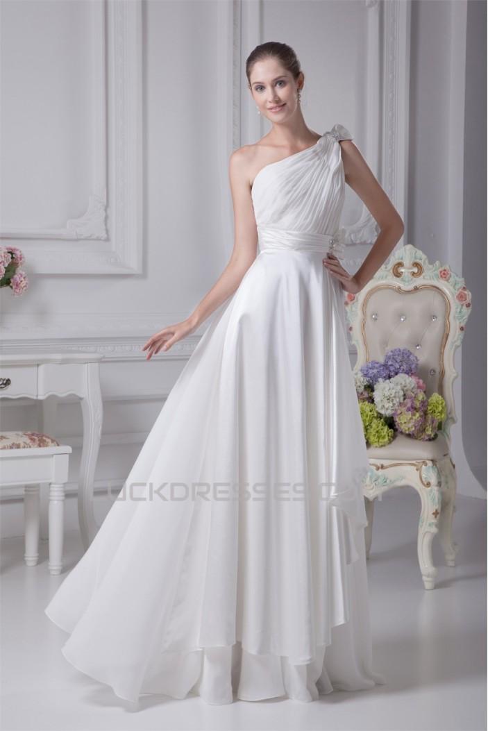 A-Line One-Shoulder Beaded Chiffon Satin Silk like Satin Wedding Dresses 2030098