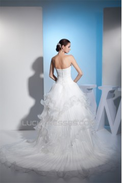Ball Gown Strapless Chapel Train Wedding Dresses 2030099