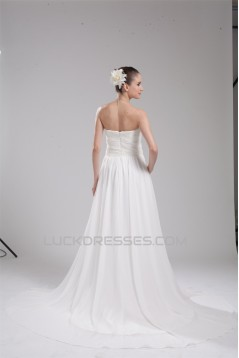 A-Line Strapless Chiffon Beaded Wedding Dresses 2030100