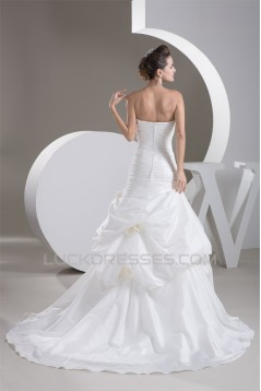 Strapless Satin Taffeta Sleeveless A-Line Wedding Dresses 2031001