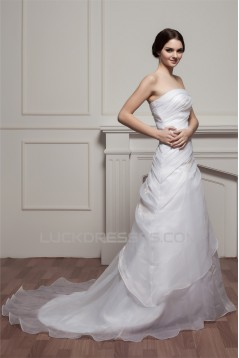 Strapless Sleeveless A-Line Satin Beautiful Wedding Dresses 2031002