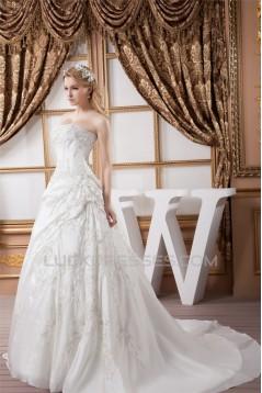 Strapless Sleeveless Ball Gown Satin New Arrival Wedding Dresses 2031005
