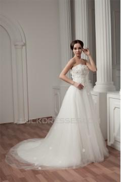 Strapless Sleeveless Satin Fine Netting Wedding Dresses 2031007